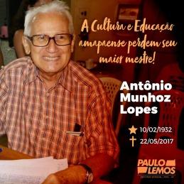 HOMENAGEM DO DEPUTADO PAULO LEMOS PELA MORTE DO PROFESSOR ANTÔNINO MUNHOZ